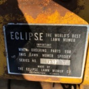Value of an Eclipse Reel Mower - metal tag on mower