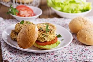 Cauliflower burger on a plate.