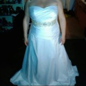 Tie-dyeing a Wedding Dress - strapless white satin wedding dress