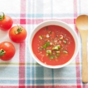 A bowl of gazpacho, a cold tomato and vegetable soup.