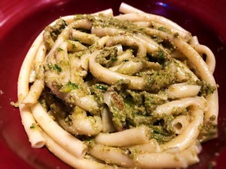 Leek and Walnut Pesto on pasta