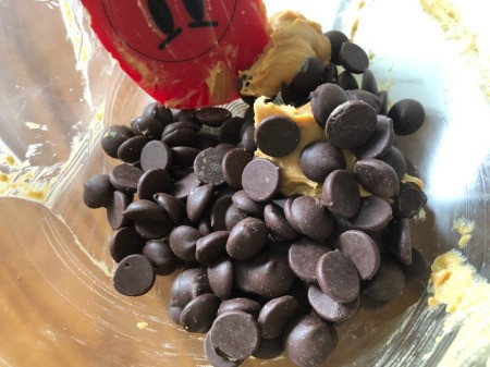 chocolate chips & peanut butter in bowl to melt