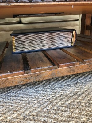 Removing Leather Wedding Album Stuck to Wood Coffee Table - photo album on coffee table