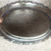 Determining the Value of an Unmarked Silver Tray  - top of an oval, filagree edged silver tray