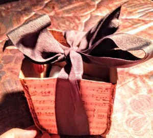 Upcycled Cracker Box for Storing Craft Supplies - finished, but empty box with ribbon box