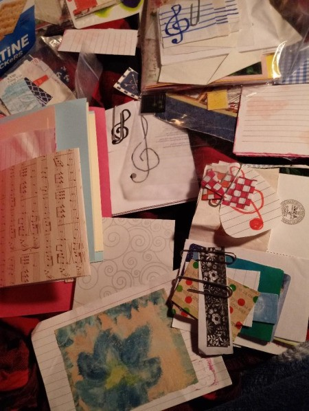 Upcycled Cracker Box for Storing Craft Supplies - select favorite pieces of scrap paper