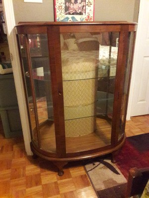 Determining the Age of This Curio Cabinet - curio cabinet with glass front and sides