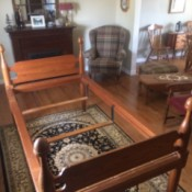 Value of an Antique Acorn Bed - single bed frame with head and foot boards and acorn finials