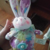 Identifying a Stuffed Rabbit - tubby stuffed bunny with floral fabric body and inside of its ears