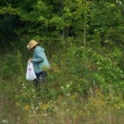Weeding Pulling Business Name Ideas - woman in field wearing a sun hat and carrying a plastic bag