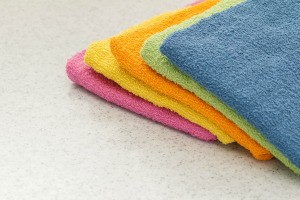 A pile of colorful washcloths.