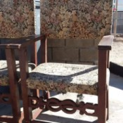 Identifying Old Chairs - brown tone chairs with decorative front rail and upholstered back and seat