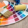 A collection of paint swatches with brushes.