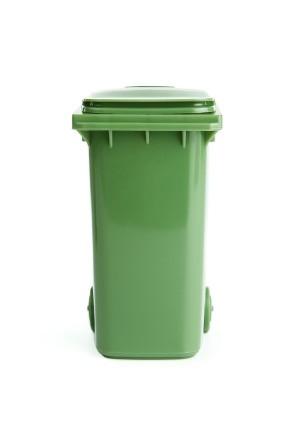 A trashcan with wheels.