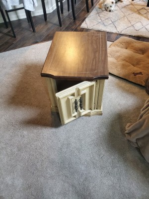 Value of a Mersman 89-62 Endtable - table with a woodtone top and cream base with door and storage