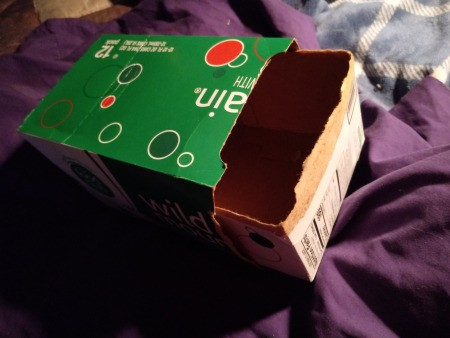 Upcycled Sliding Drawer from a Soda Box  - turn one half over so that it is open on the top, this is the drawer
