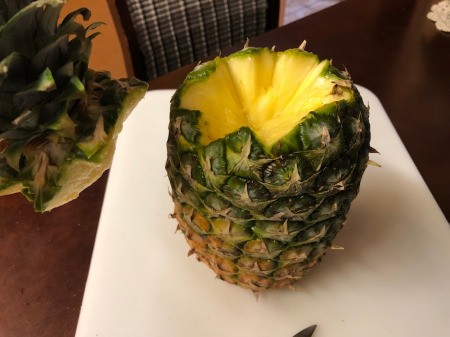 diagonally cut Pineapple top removed