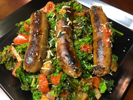Sausage Kale Spinach on plate