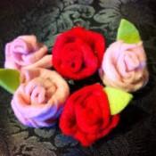 Easy Felt Flowers - 5 finished felt roses