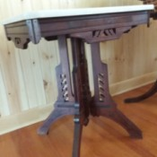 Value of an Antique Marble Top -Table - rather dark wood table with white marble top