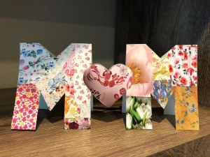 "Cut Out ""MOM"" Card for Mother's Day - finished card standing on a shelf"