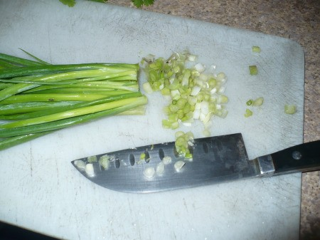 chopping green onions