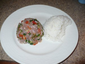 Tuna Tartare with rice on plate
