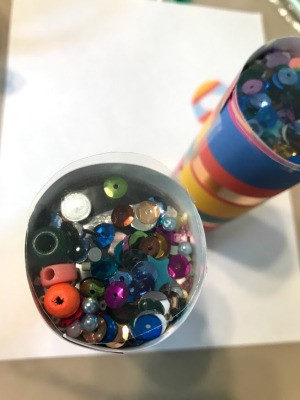 DIY Paper Towel Roll Kaleidoscope - closeup of one
