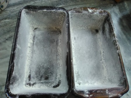greased & floured bread pans