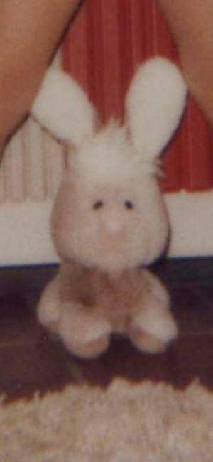 Identifying a Vintage Stuffed Bunny - pink and white bunny with topknot fluff