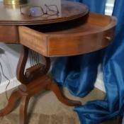 Identifying a Round Lyre Table with Drawer - table with the drawer open