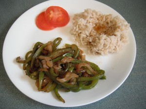Fried Onion and Green Pepper on dinner plate