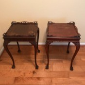 Value of Mersman Side Tables - matching tables with decorative filagree on long sides and corners