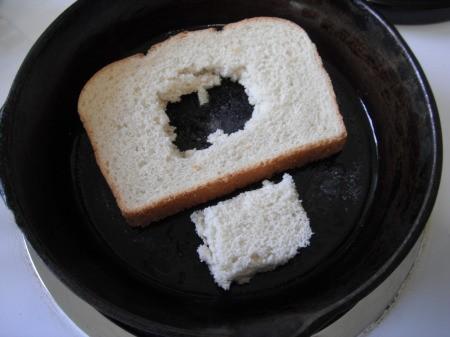Hole cut in bread
