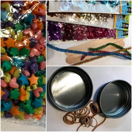 Making Toy Banjos from Jar Lids - supplies