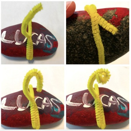 Photo Holder Rock - wrap the pipe cleaner around the rock, twist, and create two spirals to hold the photo