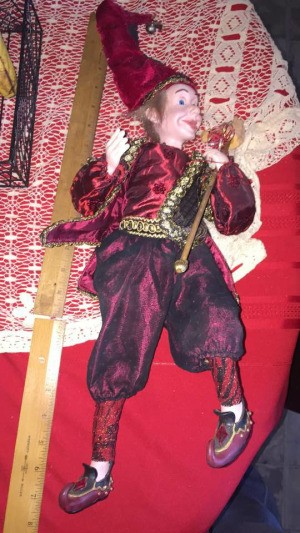 Identifying My Porcelain Doll - jester doll wearing red and maroon outfit