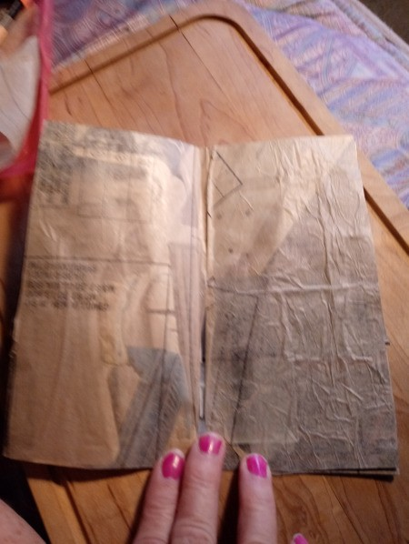 Faux Tea-Dyed Paper Using Pattern Paper - stick pattern paper down