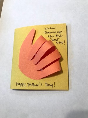 Thumbs Up Father's Day Card - front of finished card with greeting on the front