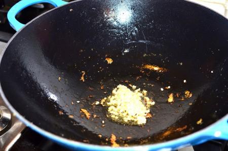 stir frying garlic
