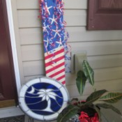 Making A Patriotic Flag With Left Over Wood - flag decoration leaning against house on porch or deck