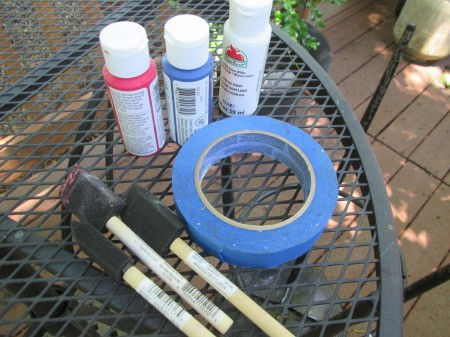 Making A Patriotic Flag With Left Over Wood - paints, sponge brushes, and tape