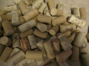 A collection of wine corks.