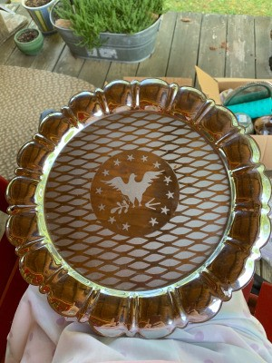 Identifying a Decorated Tray - identifying a round tray with 13 stars around possibly and eagle in the center