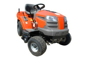 An orange riding lawn mower on a white background.