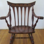 Identifying a Rocking Chair - rocker with abalone inlay design