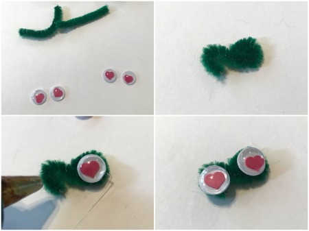 How to Make a Bottle Cap Frog Gift Tag  - twist a pipe cleaner into a figure 8 and glue on eyes