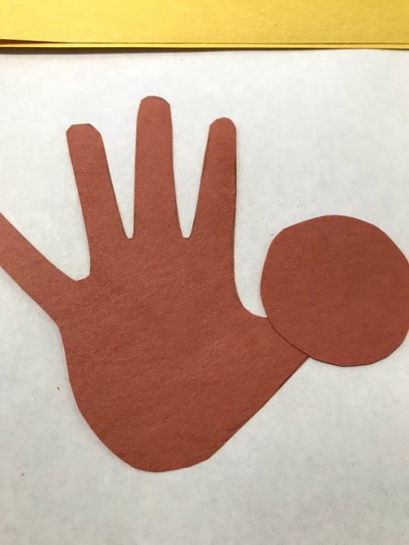 Toddler Handprint Monkey Father's Day Card - glue circle over the thumb for the head