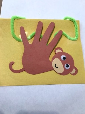 Toddler Handprint Monkey Father's Day Card - finished card