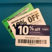 Coupons for different home improvement stores.
